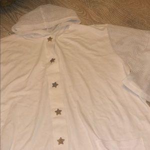 Vintage white beach coverup star fish buttons 2X